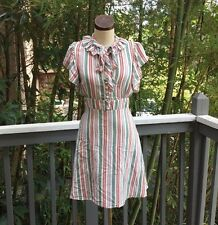 Vintage BETSEY JOHNSON Stripe Vintage Dress Holiday Silk 4 SMALL
