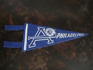 "Philadelphia A's---Mini Pennant---4"" x 8 1/2""---1940's---Felt--Very Hard To Find"