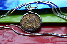 """Mexican Golden Brass Coin Jewelry Pendant on a 30"""" .925 Silver Snake Chain"""