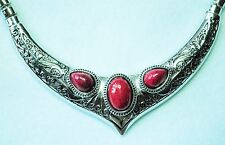 Silver tone collar style necklace with 3 dark red stones  Approx. 20""