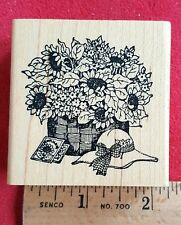 Rubber Stamp Delafield G726 Basket of Sunflowers Sun Hat Seeds Packet Bonnet New