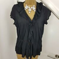 Monsoon Top V Neck Ruffle Cap Sleeves Stretchy Embroidery Shirt Black Size UK 10