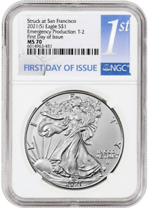 Presale - 2021 (S) T2 Silver Eagle NGC MS70 First Day Emergency Production