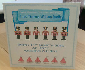 CONGRATULATIONS NEW BABY BOY PERSONALISED CARD CUTE SOLDIERS BIRTH INFO BABY