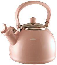 Calypso Basics by Reston Lloyd Whistling Teakettle W Glass Lid, 2.2-Quart Pink