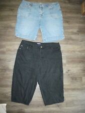 2 Pr Women 22W LA BLUES Strtch Black Capris ST JOHNS BAY Blue Jeans Denim Shorts