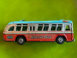"""Colorful 1950's Yonezawa Tin Avenue Bus; 9"""", in Very Good Condition"""