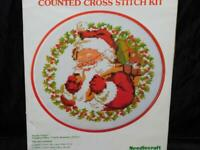 "Vintage Wonder Art Santa Claus Christmas Hoop Cross Stitch Kit NEW Decoration 7"""
