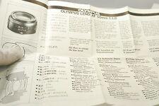 Olympus Lens AF 50mm f1.8 lens manual guide 7219094