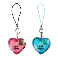 Mom and Dad I love you in Korean Language Cell Phone Strap String Charms Clover