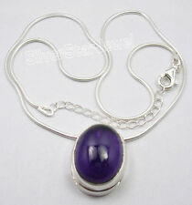 """925 Pure Silver AMETHYST 2-in-1 Snake Chain Pendant NEW Necklace 18 1/4"""" Inches"""
