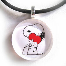 SNOOPY LOVE Glass Disc Pendant With Necklace