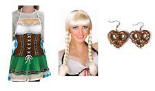 German Girl Fraulein Apron Braided Wig Pretzel Earrings Oktoberfest Costume Kit