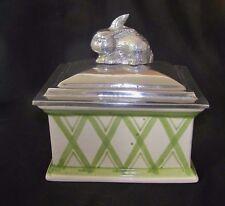 Large Porcelain Box w Silver Metal Rabbit Motif Cover