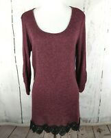MAURICES Sweater Knit Tunic Red Lace Trim Top XL Scoop Neck Shirt 3/4 Sleeve