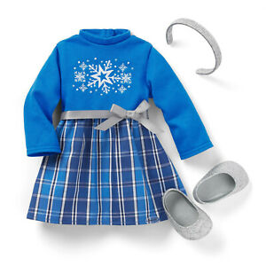 """#* AMERICAN GIRL 18"""" OUTFIT Blue Star & Snow Dress Headband Shoes for doll - NEW"""