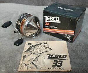 Vintage 1982 MIB Zebco 33 Fishing Reel with Box & Manual Made n USA Box Repaired