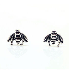 White gold finish Bee Stud earrings Free Postage Gift Boxed Jewellery Uk