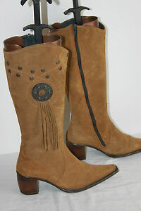 Boots Pointed Suede Brown Cinnamon T 35 Very Good Condition