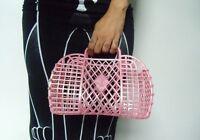 Bolso cesta zapatillas plástico rosa jelly retro vintage de compras en montar