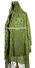 Handmade Lace BUTTERFLY FLORAL Scarf Shawl Wrap w Sequin & Crochet Fringe, Green