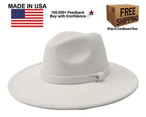 WHITE FEDORA PANAMA COWBOY INDIANA JONES UPTURN WIDE BRIM COTTON BLEND FELT HAT