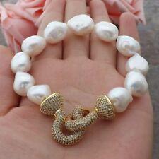 GE060114 8'' White Baroque Pearl Bracelet CZ Clasp