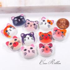 10pcs 23mm Cat Kitty kittens Face Mixed Pet Flatback Resin Cabochon H07