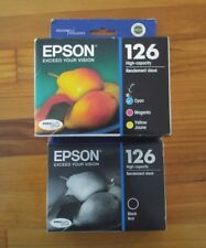 Genuine Epson 126 black, cyan, magenta, yellow combo pack printer ink. NEW