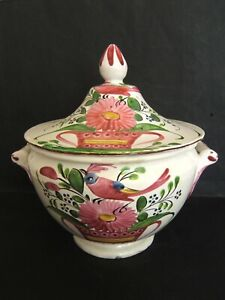 Tureen Vegetable Dish Decor Rooster And Basket Painted Hand Faience St Clement