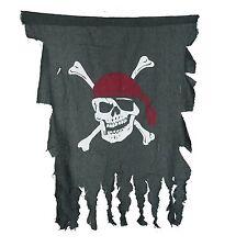 "TATTERED SKULL & CROSSBONES PIRATE FLAG JOLLY ROGER 35"" x 24"" DARK GREY GAUZE"