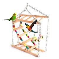 Parrots Toys Bird Swing Exercise Climbing Hanging Ladder Bridge Wooden Rain E7Y2