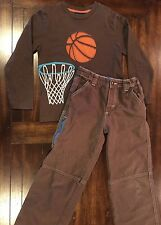 Boden BOY 7-8 7 8 Adjustable Waste Pants Long Sleeved Shirt Brown Basketball EUC