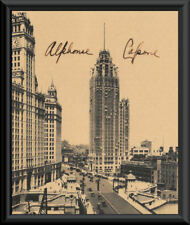 Al Capone Autograph Reprint & 1920s Chicago Reprint On 90 Year Old Paper *P051