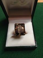 Vintage Yellow Gold Smokey Quartz Emerald cut Stone Ring Size K1/2 RRP £950