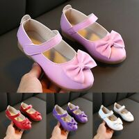 Children Infant Kids Baby Girls Solid Bowknot Single Princess Casual Shoes AU