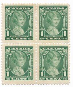 CANADA - 1935 1CENT GREEN -  PRINCESS ELIZABETH -  MTD MINT BLOCK OF FOUR