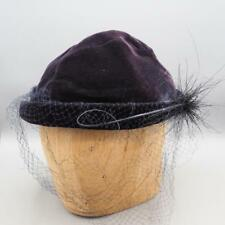 Vintage Womens Hat 1940's 1950's Navy Veiled