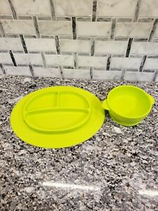 Toddlers Rubber Suction Sectioned Plate And Bowl Set Lime Green