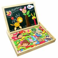 Wooden Jigsaw Puzzles Double Sided Magnetic Writing Board for Kids Drawing Board