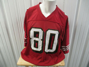VINTAGE REEBOK SAN FRANCISCO 49ers NINERS JERRY RICE #80 LARGE RED JERSEY PREOWN