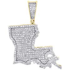 "10K Yellow Gold Diamond Louisiana Pelican State Map Pendant 1.45"" Charm 0.76 CT."