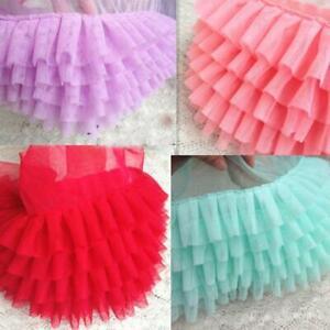 7 colors 1 yard Lace Trim Tulle Soft Pink Aqua Pruple Red Ruffled Wedding fabric