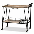 Baxton Studio Modern Wine Serving Cart With Oak Brown And black YLX-2804WR-Cart