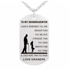 Grandpa Love Granddaughter Pendants Dogs Tag Necklace Stainless Military BH