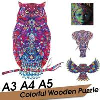 Wooden Animal OWL Shaped Jigsaw Puzzles For Children Toy Adult & Q3T7