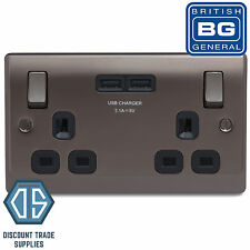 BG Nexus Double Socket 2 USB Ports in Black Nickel 3.1A NBN22U3B Black Inserts