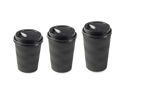 8/12/16oz (BLACK) Insulated Disposable Double Wall Ripple Paper Coffee Cups