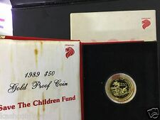 Singapore 1989 Save The Children Gold Proof $50 Coin ((Rare only 1040 pcs))