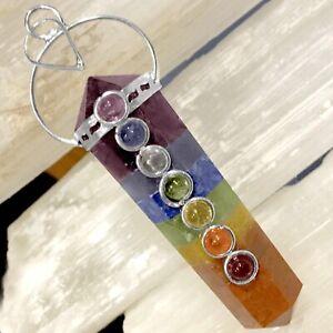 Rainbow Chakra Crystal Double Point Pendant 7 Bonded Stone Necklace Reiki Healin